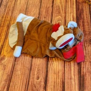 Sock monkey dog costume, sz L